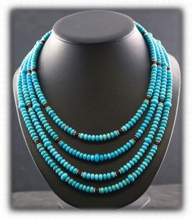 Multi-Strand Turquoise Beaded Necklace