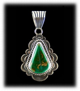 Navajo Silver and Turquoise Pendant - Green Turquoise Pendant