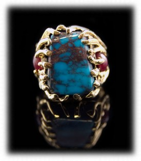Gold Lost Wax Ring with Bisbee Turquoise and Rubies