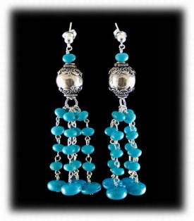 Turquoise with Silver Bead Earrings by Nattarika