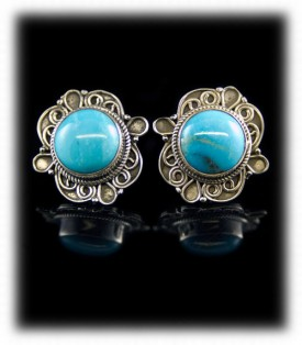 Silver Filigree Turquoise Stud Earrings