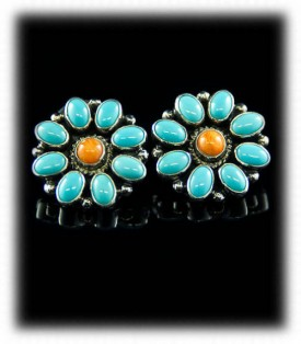 Spiny Oyster and Turquoise Stud Earrings