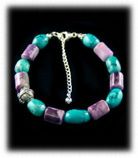 Silver Turquoise and Sugilite Beaded Cuff Bracelet