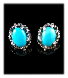 Sleeping Beauty Silver Turquoise Post Earrings