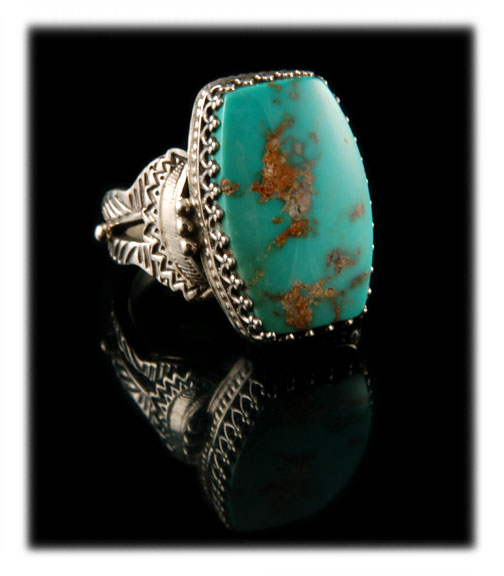 American Handmade Spiderweb Royston Turquoise Ring by John Hartman of Durango Silver Company miners of Turquoise and makers of fine rings