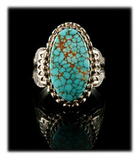 Victorian style Sterling Silver and number eight turquoise from nevada