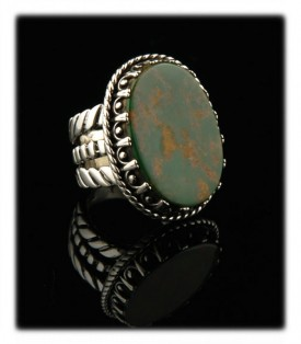 Look at the sturdy construction of this handmade Sterling Silver and  Kin's Manasssa Turquoise Ring