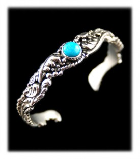 Victorian Silver and Turquoise Handcrafted Bracelet