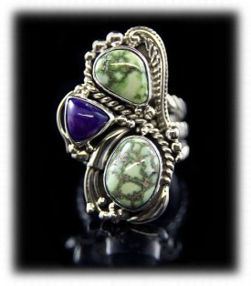 Green Victorian Silver Ring