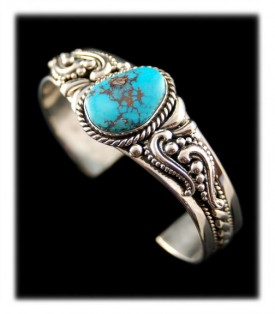 Victorian Style Silver Turquoise Bracelet