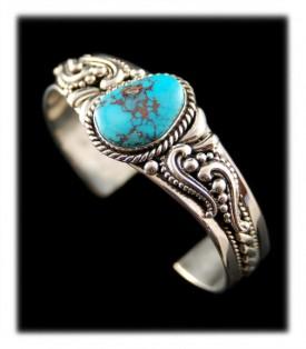 White Buffalo Turquoise Bracelets Victorian Style Silver Bracelet