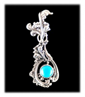Fancy Victorian style pendant with natural Sleeping Beauty Turquoise