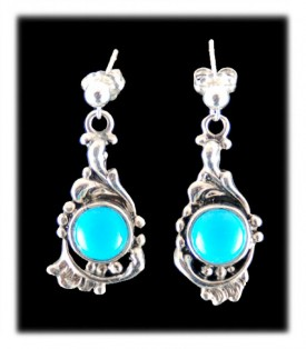 Victorian Style American Turquoise Earrings