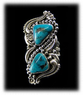 Victorian Style Turquoise Ring - Morenci Turquoise