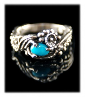 Petite Silver and Turquoise ring by John Hartman with bright blue Turquoise from Arizona