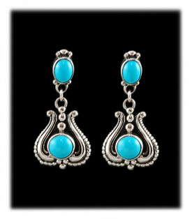 Turquoise in Silver Victorian Style Earrings