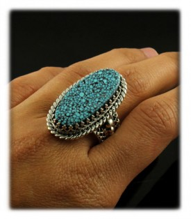 Here is a great Sterling Silver Victorian Turquoise ring by John Hartman with natural spiderweb Kingman Turquoise from Arizona