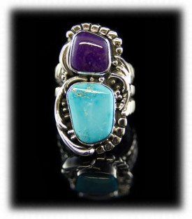 American Handmade double stone  sterling silver dinner ring with Morenci Turquoise and Sugilite by John Hartman
