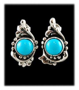 Victorian Style Sleeping Beauty Silver Turquoise Post Earrings