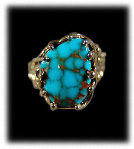 Here is a great handmade natural Villa Grove Turquoise and 14k yellow gold piece by Durango Silver Company