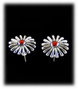 Vintage Style Coral Earrings - Navajo Handcrafted Earrings