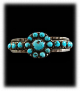 Ingot Turquoise Silver Bracelet - Antique Turquoise Jewerly