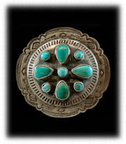 Old Pawn Turquoise Jewelry Buckle - Navajo