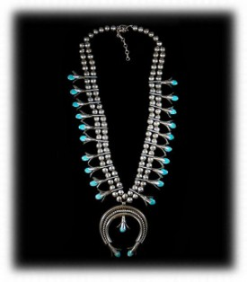 Vintage Western Silver Squash Blossom Necklace