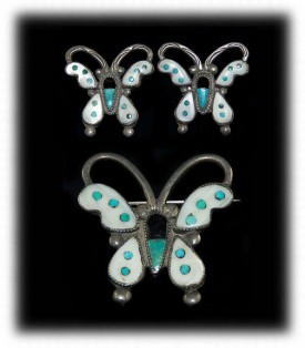 Vintage Turquoise Earrings - Zuni Butterfly Earring Set