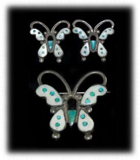 Vintage Turquoise Earrings - Zuni Butterfly Earring Set