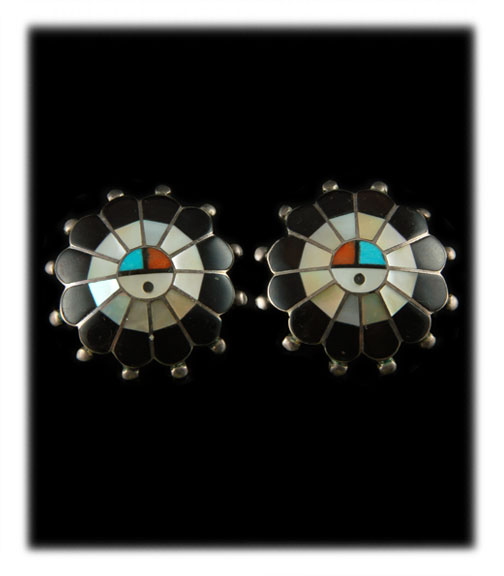 Vintage Zuni Inlay Sunface Stud Earrings