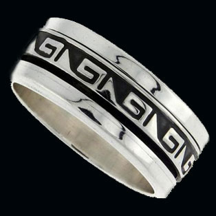 Greek Key Wedding Ring Silver Band