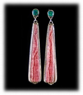 Western Silver Earrings with Rhodocrocite Gemstones