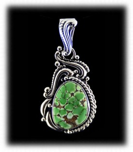 Western Silver Pendant with Lime Turquoise