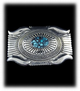 Western Silver Buckle - Navajo Handcrafted