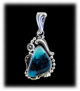 Blue Turquoise Western Silver Pendant