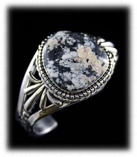 White Turquoise Western Silver Bracelet