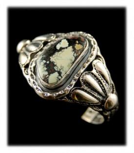 White Buffalo Turquoise Bracelet - American Handmade