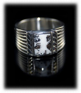 White Turquoise Mens Saddle Ring