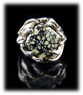White Tortoise Turquoise Ring