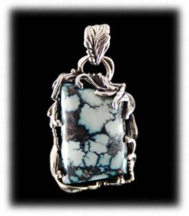 White Buffalo Turqoise Sterling Silver Pendant - Handmade Jewelry