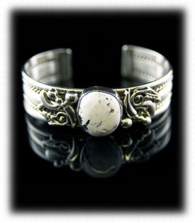 Sterling Silver Cuff Bracelet with White Buffalo Turquoise