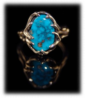 womens gold turquoise ring