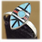 Modern Zuni Inlay Turquoise Womans Ring