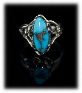 Handmade Silver with Gold and Turquoise Ring