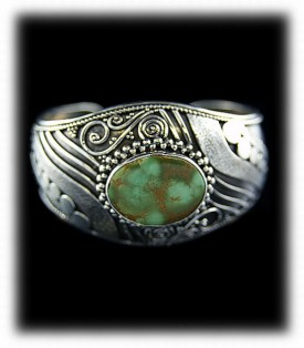 Womens Green Turquoise Cuff Bracelet