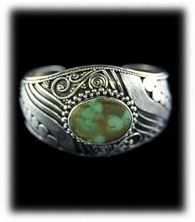 Womens Green Turquoise Cuff Bracelet