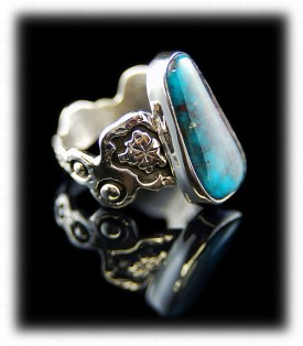 Handmade overlay style Sterling Silver and genuine natural Bisbee Turquoise ladies ring