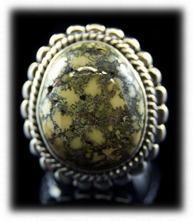 Yellow Turquoise Mens Ring with natural spiderweb Damele from Nevada, USA