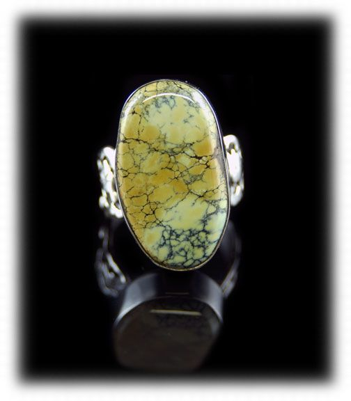 Golden Yellow Spiderweb Tortoise Turquoise cabochon in a Sterling Silver ring